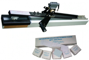 AATCC Crockmeter/Rubbing Fastness Tester. To determine colour fastness of textile to dry or wet rubbing, fitted with hand crank/counter.