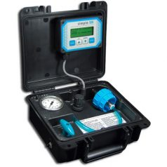 The simpleSDI silt density index meter makes Silt Density Index testing so easy that it's actually a pleasure. The time-consuming manual SDI test with it's errors and inaccuracies is a thing of the past. simplSDI silt density index tester Extremely Accurate: Microprocessor precision plus high resolution flow measurement provides silt density index test accuracy and repeatability far beyond hand testing. Battery Powered and light weight for true portability. Up to 13 hours of testing between charges. Performs SDI-5, SDI-10 and SDI-15 tests in both 100ml and 500ml sample sizes for more meaningful silt density index results and a complete picture of filter plugging. Standards compliant 47 mm membranes for lowest cost, worldwide availability. Our membranes meet the new ASTM D4189-07 standard for silt density index testing. SeaWater Compatible: Fully non-ferrous water path is compatible with sea water and other corrosive waters. Continuous flow readout (mL/min) provides detailed information in real-time of the rate of filter plugging. This data can be used to manually plot Modified Fouling Index (MFI)-like data. Built to the ASTM D 4189-07 standard for silt density index testing accuracy and repeatability greatly exceed the criteria of the silt density index standard. Linear, precise pressure regulation for accurate results even on high SDI waters. Provides set-it-and-forget-it convenience. Rugged, durable, reliable. Carefully selected components ensure years of trouble-free silt density index testing. In-field calibration and repair. Modular design for easy field repairs. Sensor calibration is easy to perform in the field. Audible alerts notifies the operator at the end of the silt density index test as well as if any errors have occurred. Clear, easy to read LCD display prompts the operator through the test procedure and displays current test data while silt density index tests are underway.
