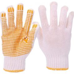 Cotton hand gloves with rubber grip dots